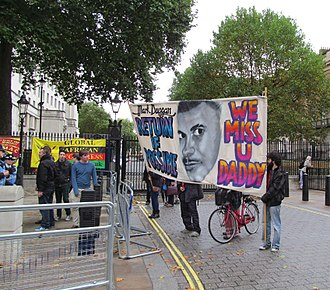 Death of Mark Duggan - Protesters with Mark Duggan banner, 26 October 2013