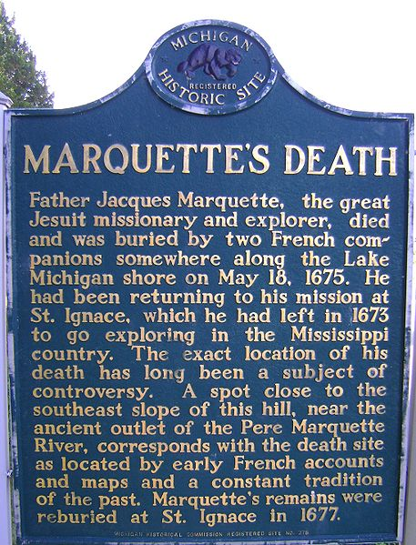 File:Marquette's Death - Michigan Historical Marker.jpg