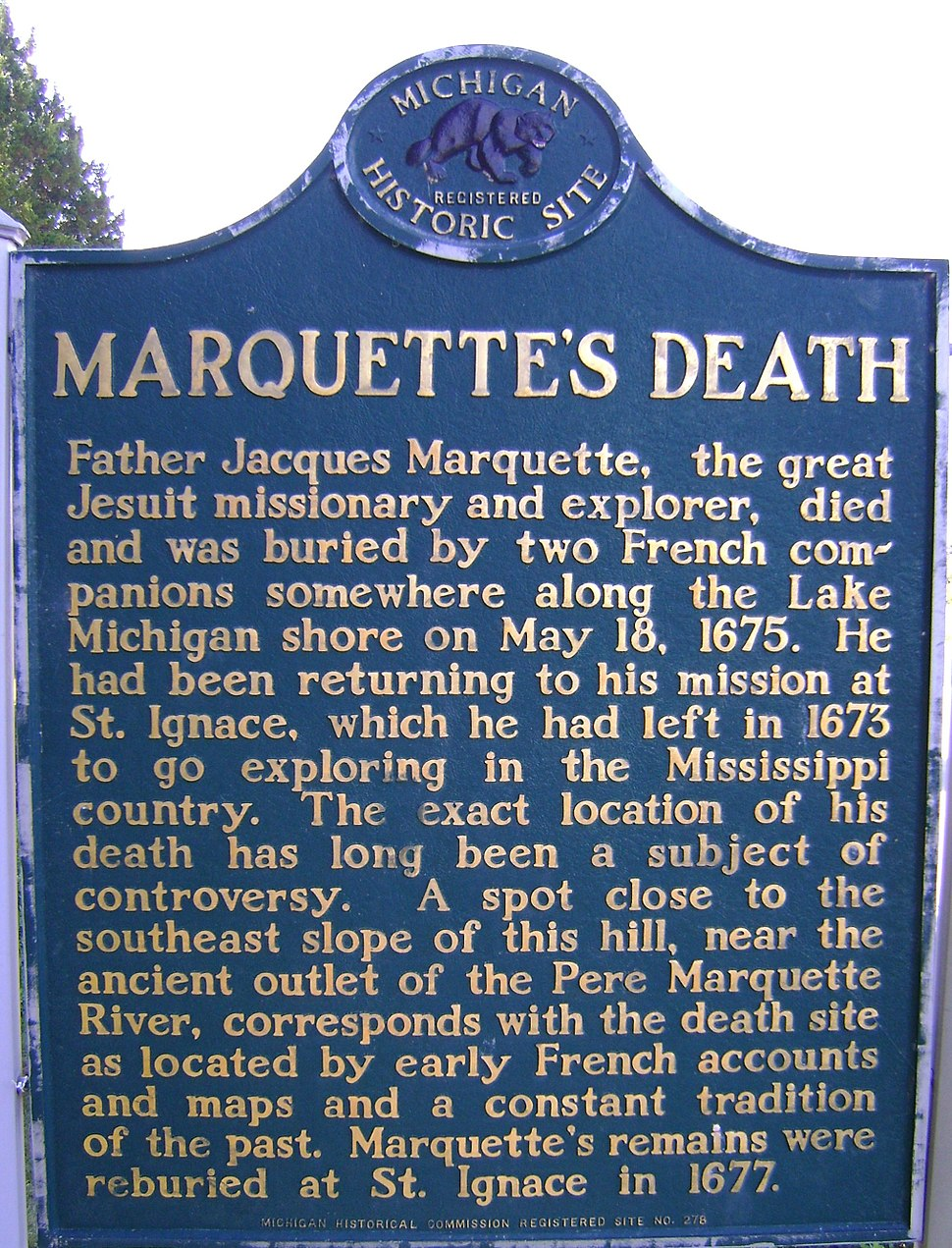 Marquette's Death - Michigan Historical Marker