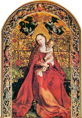 Martin Schongauer - Madonna in the Rose Garden, in carved frame, dated 1473.