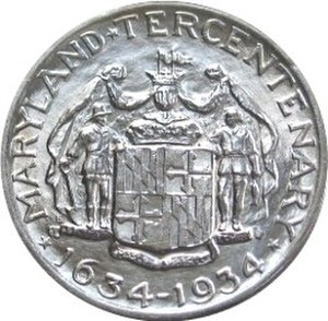 Maryland Tercentenary half dollar - Reverse