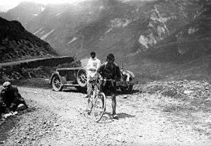1928 Tour de France - The Belgian Maurice Geldhof is climbing part of the Aubisque on foot.