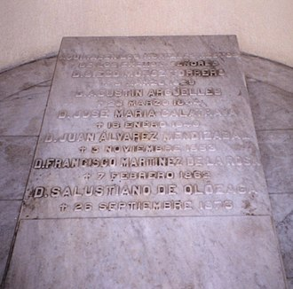Liberalism and radicalism in Spain - A common grave for six Liberal politicians from the 19th century at the Panteón de Hombres Ilustres, Madrid.