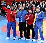 Medalists at the Men's 120 kg Greco Roman Wrestling.jpg