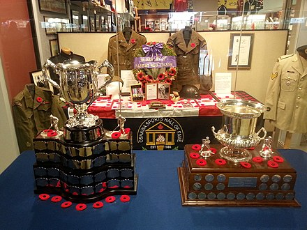 The Memorial Cup and the Red Tilson Trophy displayed at the Oshawa Sports Hall of Fame for Remembrance Day in 2019 Memorial Cup and Red Tilson Trophy 2019.jpg