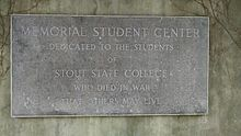 Plaque Commemorating students who died in war. It it located underneath the Memorial Student Center.