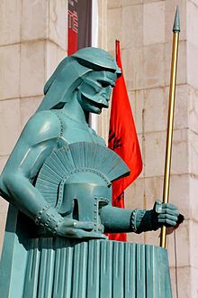 "Metal statue from Albanian tourism expo ""Exhibit of Illyrian Kings"" depicting Glaucias.jpg"