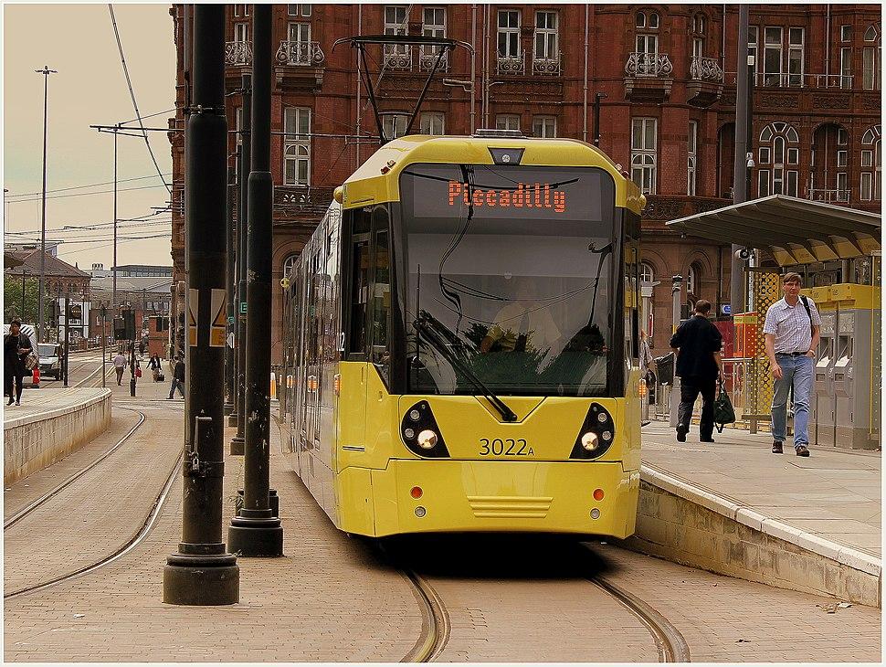 Metrolink tram at Lower Moseley Street.