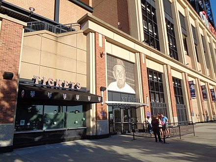 Stengel Gate at the Mets' current ballpark, Citi Field (seen in 2017) Mets vs Nationals 09-24-17 Pregame 39.jpg