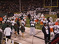 Miami takes field after halftime at 2008 Emerald Bowl.JPG