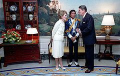 President Ronald Reagan and first lady Nancy Reagan present Jackson with an award at the White House on May 14, 1984