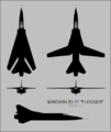 Mikoyan-Gurevich I-21-11 (MiG-23) five-view silhouette.png