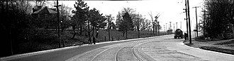 Mimico - Looking east to Sir Henry Pellatt's 'Bailey House' (later the Legion Hall) at bend in Lake Shore Road, east of Mimico, 1936