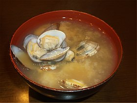 Miso soup of Japanese littleneck clam(asari) 2014.jpg
