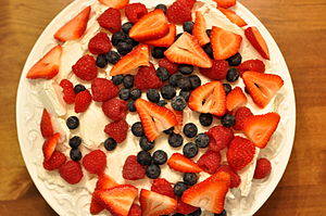 New Zealand cuisine - Pavlova, one of the icons in Australian and New Zealand cuisine.