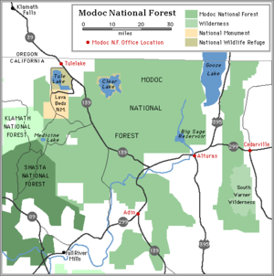 Modoc National Forest - Wikipedia on shasta national forest map, carson national forest map, ashley national forest map, national forest campground map, winema national forest map, ottawa national forest map, malheur national forest map, six rivers national forest map, finger lakes national forest map, klamath national forest map, sitgreaves national forest map, wallowa-whitman national forest map, humboldt-toiyabe national forest map, mendocino national forest map, mississippi national forest map, mt. baker national forest map, green mountain national forest map, flathead national forest map, white mountain national forest map, oregon national forest map,
