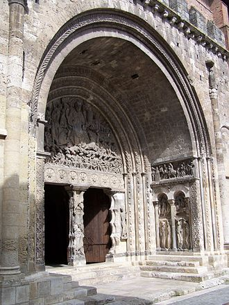 "Monumental sculpture - Romanesque portal of Moissac Abbey; a classic example of what is meant by ""monumental sculpture"" in ancient and medieval art history."