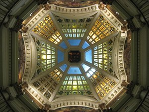 Monroe County Courthouse (Indiana) - Image: Monroe County Courthouse in Bloomington, dome interior from floor