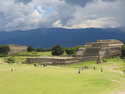 Monte Alban is regarded as the historical antecedent of the modern city of Oaxaca. Monte Alban temple 2006 08.JPG