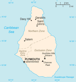 Location of Plymouth within Montserrat.