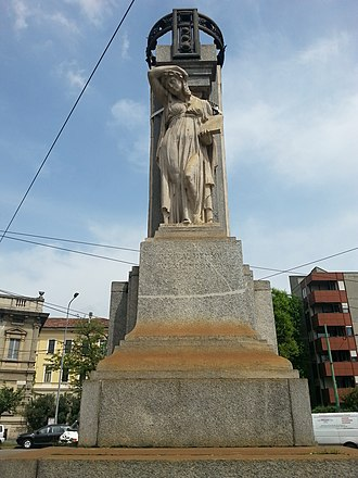War Memorial of Musocco - West: The statue with in hand the book Storia, History