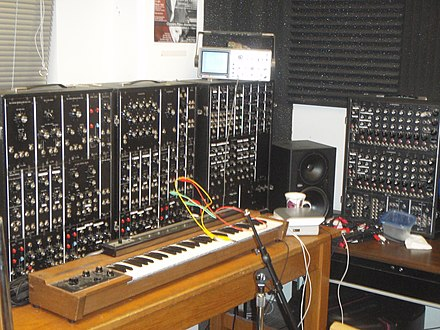 A modular Moog synthesizer, designed by Robert Moog, which Carlos helped popularize Moog Synthesizer 3P (1972), CRuNCh Lab.jpg