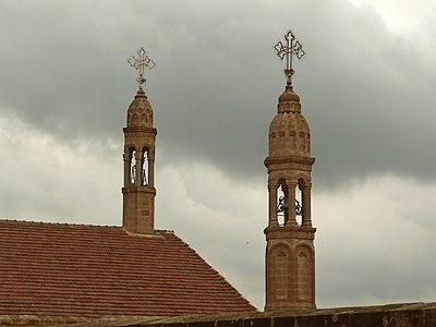 Towers of the Mor Gabriel Monastery.