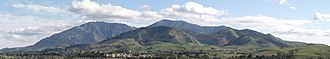 Mount Diablo - View of Mount Diablo from Concord: north peak (left), Mount Zion (center), and main peak (right),