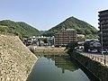 Mount Sakurayama and moat from site of Tenshu of Mihara Castle 2.jpg