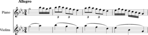 Heterophony -  Mozart, Piano Concerto in C minor, K491, first movement, bars 211-214.