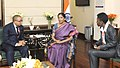 Mr. Antonia Padro Olivera Borupu, Equator in Guinea, Minister of Commerce, meeting the Minister of State for Commerce & Industry (Independent Charge), Smt. Nirmala Sitharaman, in New Delhi on March 09, 2017.jpg