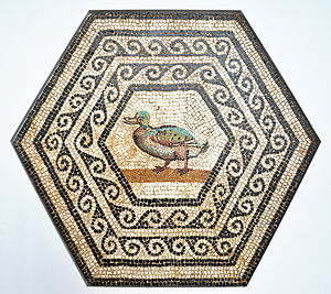Gallo-roman mosaic with a duck, made with ston...