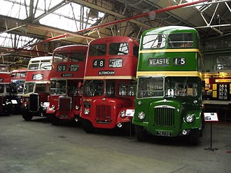 Museum of Transport, Greater Manchester - A former North Western Road Car, two Manchester Corporation buses and one Salford Corporation all inside the Museum of Transport, Manchester and in their original liveries.