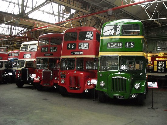 A former North Western Road Car, two Manchester Corporation buses and one Salford Corporation all inside the Museum of Transport, Manchester and in their original liveries. Museum of Transport in Manchester.jpg