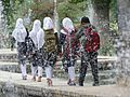 Muslim Girls Viewed through Fountain - Shalimar Bagh Garden - Srinagar - Jammu & Kashmir - India (26749037692).jpg