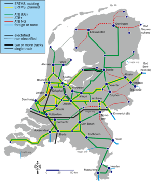 Automatische treinbeïnvloeding - Map of ATB and other safety systems in the Netherlands, including planned ERTMS implementation.