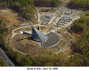 National Museum of the Marine Corps - Aerial view of the Museum under construction in April 2006