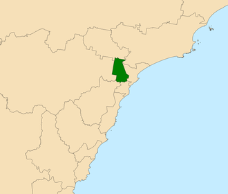 Electoral district of Wallsend - Location in the Central Coast region