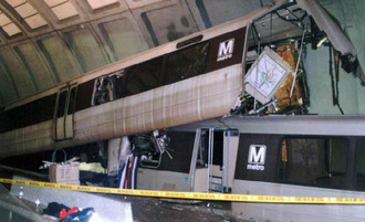 Telescoping (rail cars) - Cars of the Washington Metro were telescoped in this November 3, 2004 accident at Woodley Park station.