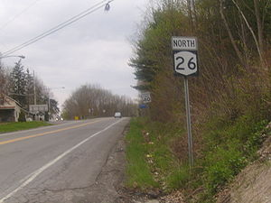 New York State Route 26 - NY 26 heading northbound from NY 79 and NY 206 in Whitney Point