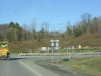 New York State Route 97 - NY 97 at its northern terminus, the ramps from exit 87 of NY 17 in Hancock