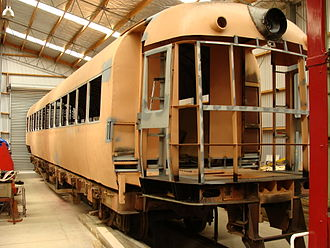 NZR RM class (88 seater) - One half of RM 121 in the Railcar Storage Shed at Pahiatua Railway Station.