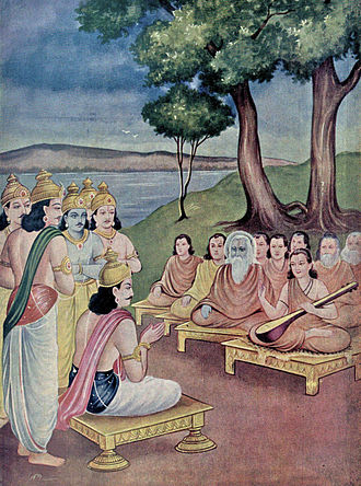 Shanti Parva - Yudhishthira receives counsel from sages (shown) and from dying Bhishma on proper governance, justice and rule of law in Shanti parva.
