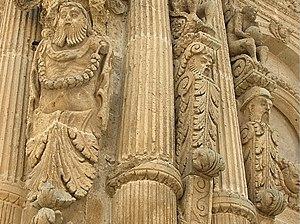 Nardò - Details of the façade of the church of San Domenico.