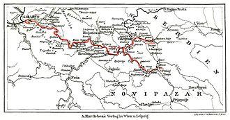 Narrow-gauge railways in Bosnia and Herzegovina - Map of the Bosnian Eastern Railway, 1908