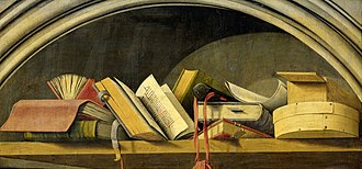 Aix Annunciation - Still life with books, upper portion of the Isaiah panel (now in the Rijksmuseum).