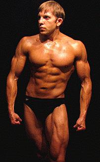 A bodybuilder posing.