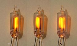 Photograph of 3 small glass capsules. Each capsule has 2 parallel wires that pass through the glass. Inside the left capsule, the right electrode is glowing orange. In the middle capsule, the left electrode is glowing. In the right capsule, both electrodes are glowing.