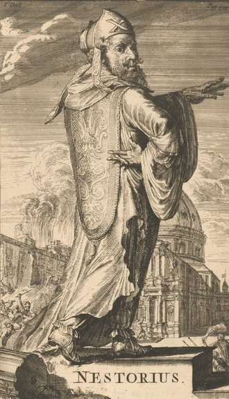 Nestorius - Nestorius as envisioned by the 17th century Dutch printmaker Romeyn de Hooghe, in the book History of the church and heretics
