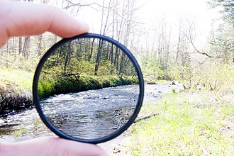 Neutral-density filter - Demonstration of the effect of a neutral density filter. Note that the photograph was exposed for the view through the filter, and thus the remainder of the scene is overexposed. If the exposure had instead been set for the unfiltered background, it would appear properly exposed while the view through the filter would be dark.